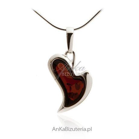 ankabizuteria.pl arabska biżuteria Zawieszka srebrna Serce z bursztyne