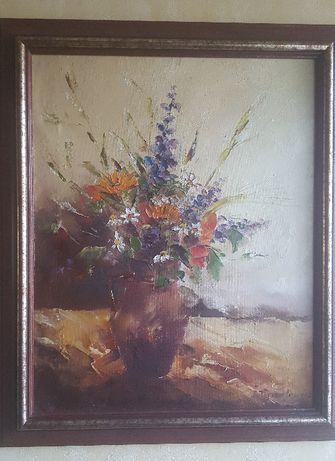 Obraz olejny, kwiaty na płótnie