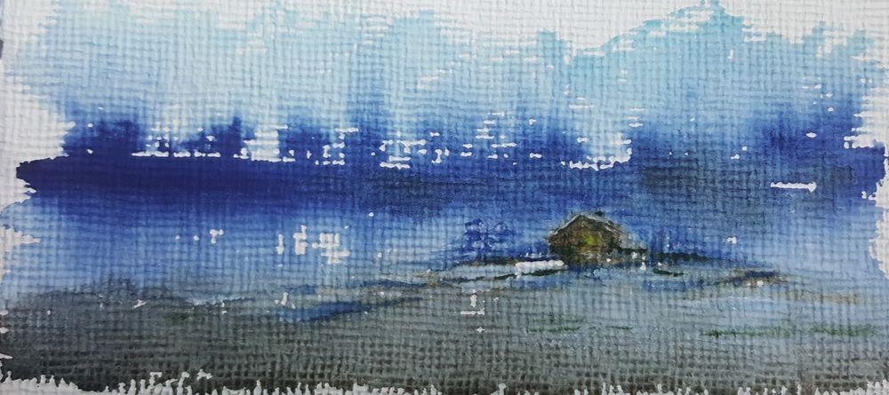 Obraz ręcznie malowany Akwarela Zima Pejzaż Wrocław - image 1