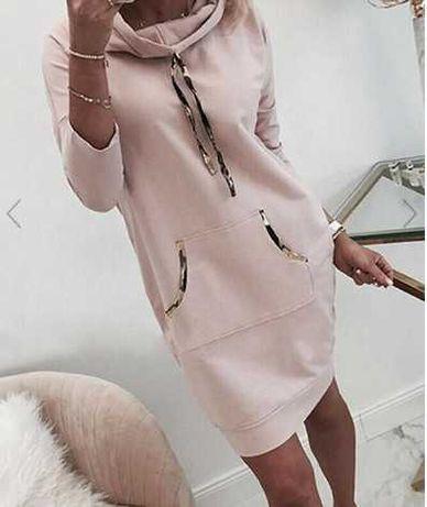 bluza tunika dresowa kieszenie kangurka oversize roż L
