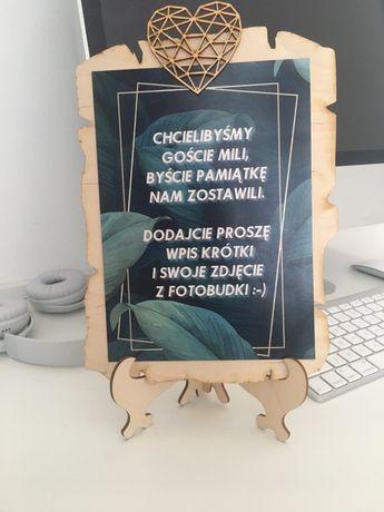 Akcesoria do fotobudki księga gości tabliczka ze stojakiem