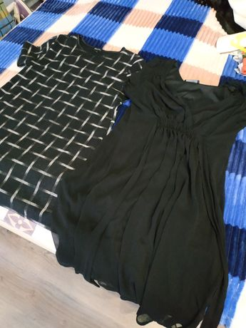 Платье женское 50 размер повседневное вечернее. Чёрное белое.