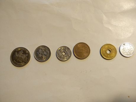 Деньги Японии. Набор от 1 до 1000 йен