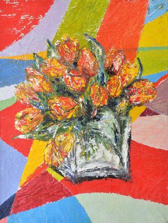 Oryginalny obraz olejny na płótnie 60 x 80 - Tulipany