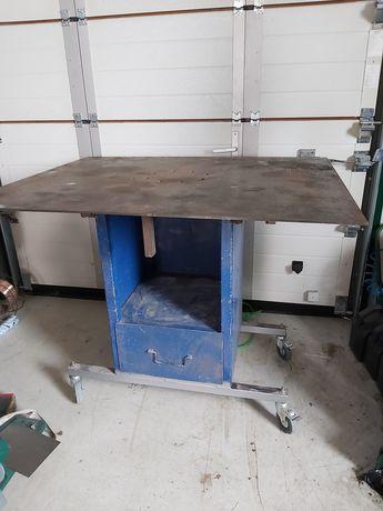 Stół warsztatowy na kółkach szuflada metal do garażu