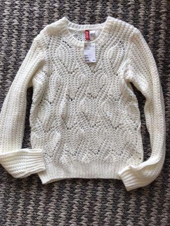 Nowy sweterek splot beżowy kremowy biały H&M S