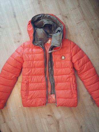 Różowo-szara kurtka zimowa damska rozmiar M/L