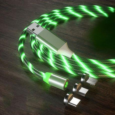 Светодиодный магнитный кабель USB Type-C, MicroUSB, Iphone lightning