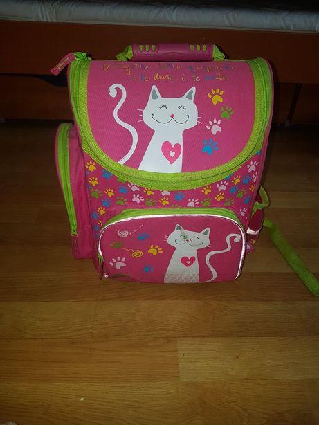 Tornister plecak szkolny różowy z kotem