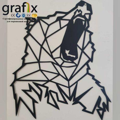 Декор на стену Металлический Медведь Настенный декор панно Лофт
