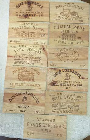 Coleccção de madeiras de caixas de vinho xilogravadas