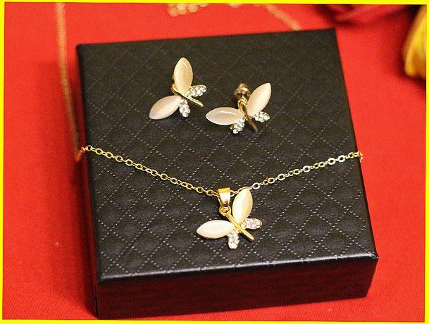 Zestaw biżuterii Ważki Kolor Złoty Opal Naszyjnik kolczyk