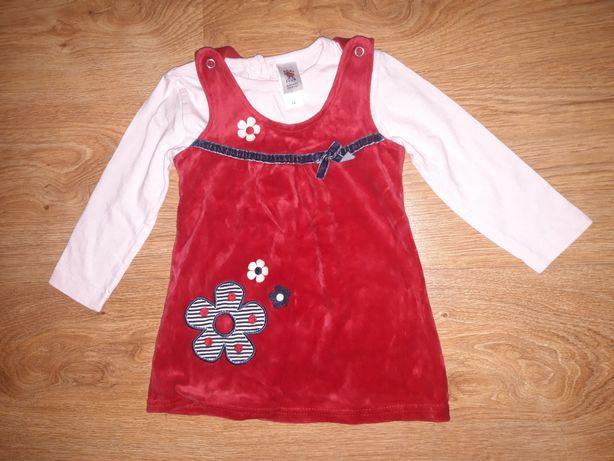 Czerwona sukienka + bluzeczki, rozm.74