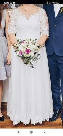Suknia ślubna biała koronka  regulowana rozm. 38-44