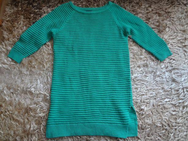 Zielony długi sweter tunika r.36