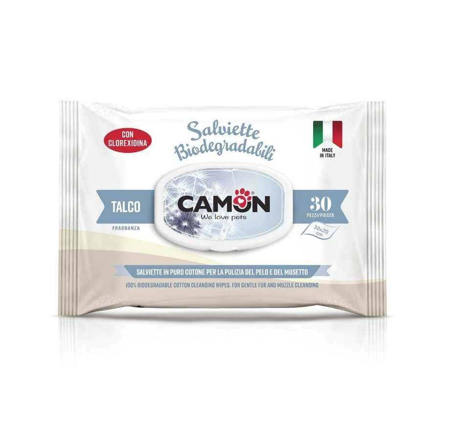 CAMON - Toalhetes de limpeza biodegradáveis de talco, cão e gato