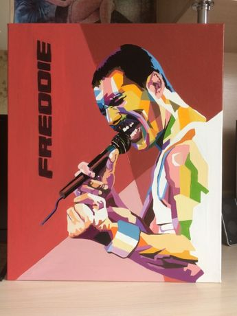 Картина маслом на холсте с подрамником Фредди Меркьюри 50х60 см
