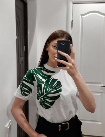 Белая футболка с рисунком, эко-сумка шоппер  ручной росписью