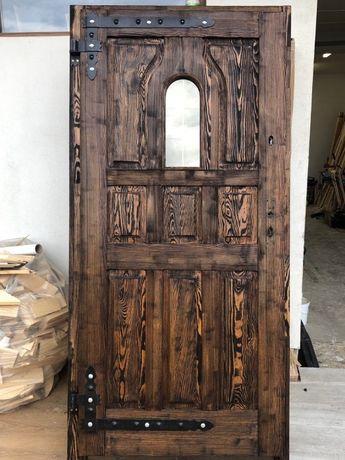 Drzwi zewnętrzne postarzane szczotkowane OCIEPLANE OD RĘKI R2
