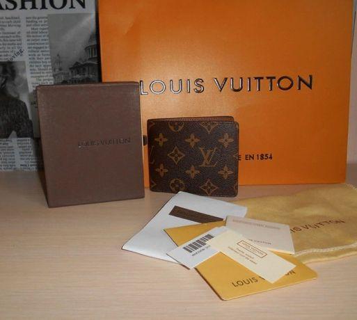Męski portfel Louis Vuitton skóra ze skóry skórza, LV na prezent 014