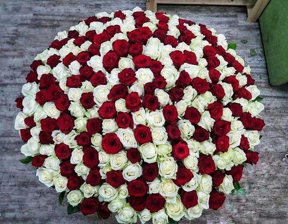 Шикарный букет микс 101 роза! Розы, доставка цветов. Подарок любимой
