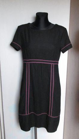 MNG czarna sukienka fioletowe lamówki r. 44