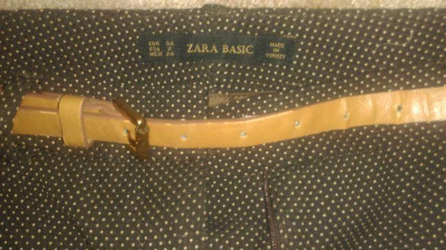 Брюки Zara Basic с ремнем и карманами для юной модницы. Размер: 34.
