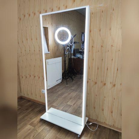 Гримерное зеркало в полный рост на колесиках с лампочками с подсветкой