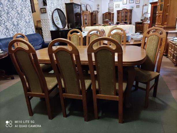 Debowy rozkładany Stół i 8 krzeseł