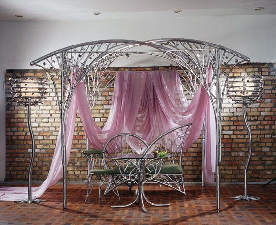 Беседка алюминиевая декоративная разборная спальное место с балдахином