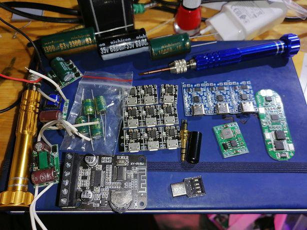 Плата для зарядки li-ion li-pol micro USB type c контроллер led 12в
