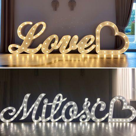 Atrakcje ślubne, napis Miłość, Love, ciężki dym, fotobudka