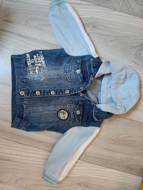 Katana jeansowa r. 80 kurtka bluza z dresowymi rękawami i kapturem