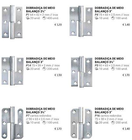 Dobradiças para porta de madeira e aluminio , e Calceiros
