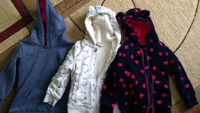 3 ciepłe bluzy dla dziewczynki r. 98-104