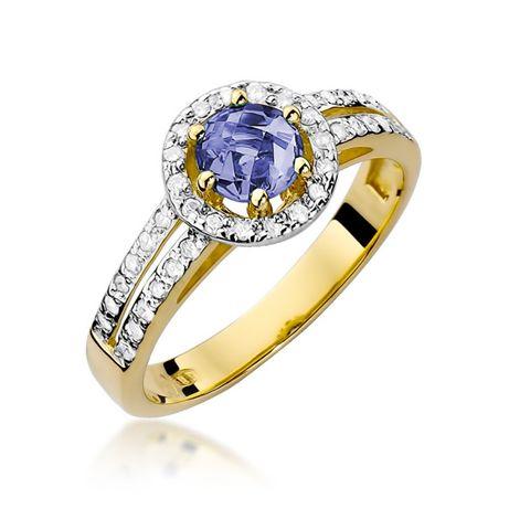 -20% Złoty pierścionek z tanzanitem i brylantami 585 - Goldrun Chorzów