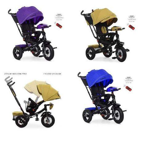 Велосипед триколісний кол.резіна (12/10), колясочні,поворот,USB, пульт