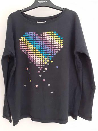 Bluzeczka tshirt długi rękaw 140 146 czarna serce oversize