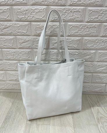 Женская белая кожаная сумка 3 отдела