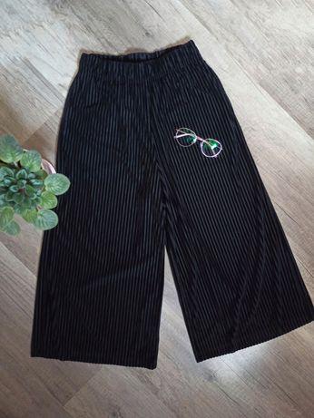 Spodnie culotte 3/4 szerokie nogawki czarne welurowe