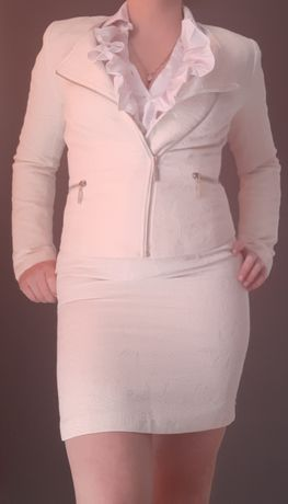 Komplet żakiet + spódnica kolor kremowy