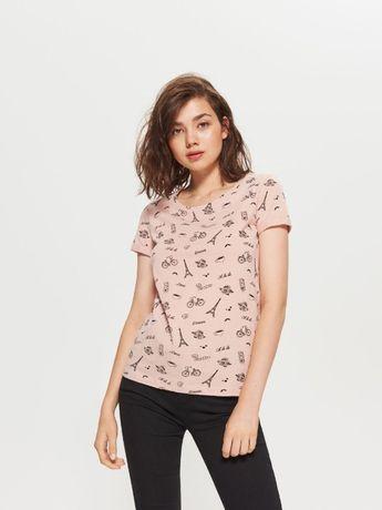 t-shirt koszulka damska pudrowa z nadrukiem Cropp r. S