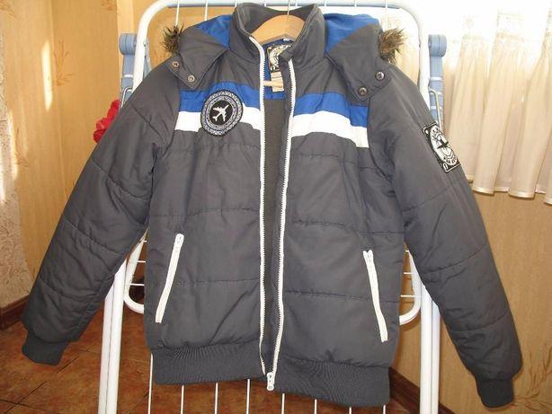 Куртка серая зимняя теплая на рост 146-152-158 как НОВАЯ