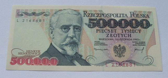 Banknot POLSKA 500000 ZŁ SIENKIEWICZ - Z PACZKI Bankowej Kolekcjonersk