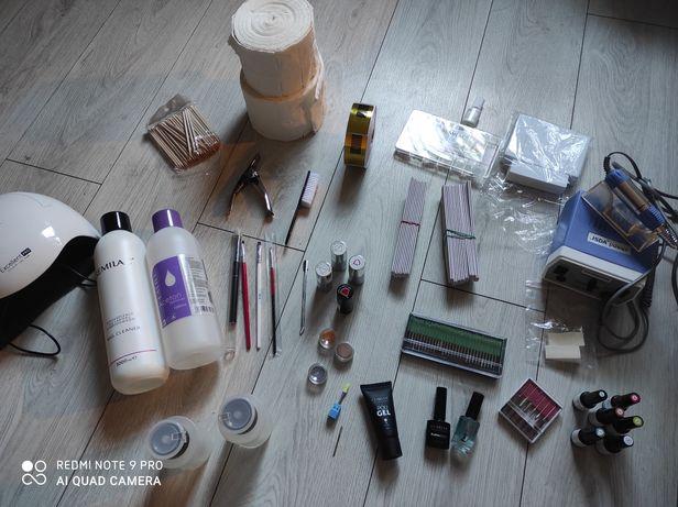 Duży zestaw do manicure pedicure hybyda  akryl żel OKAZJA