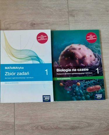 Książki  do 1 liceum, zbiór zadań matematyka i biologia (nowa era)