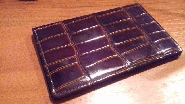 Портмоне бумажник мужской из кожи крокодила натуральный лаковый