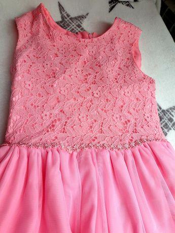 Elegancka wizytowa sukienka 134 różowa smyk cool club