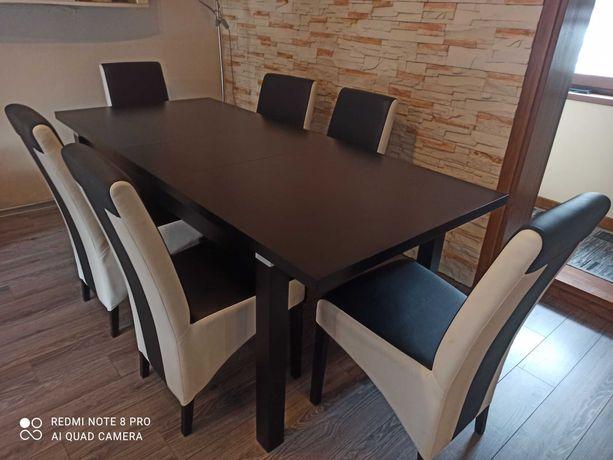 Stół czarny rozkładany + 6 krzeseł