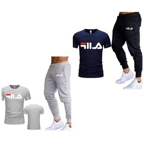 Dres zestaw meski Tshirt koszulka spodnie Fila s m l xl xxl Adidas